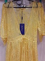 Пляжный халат в пол 801 Гипюр желтый на размеры 48-50., фото 2