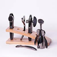 Набор аксессуаров для бара Kamille 5086 5 предметов на деревянной подставке