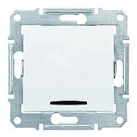 Выключатель кнопочный с подсветкой Белый Sedna Schneider, SDN1600121