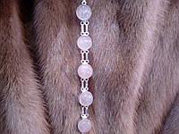 Нежный браслет с камнем розовый кварц в серебре. Браслет с розовым кварцем, фото 1