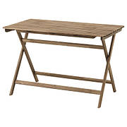 АСКХОЛЬМЕН Садовый стол, складной серо-коричневая морилка, 112x62 см 10337817 IKEA, ИКЕА, ASKHOLMEN