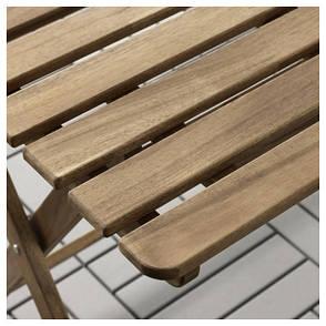АСКХОЛЬМЕН Садовый стол, складной серо-коричневая морилка, 112x62 см 10337817 IKEA, ИКЕА, ASKHOLMEN, фото 2