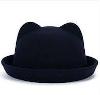 Женская  фетровая шапка с ушками Синий Чёрный