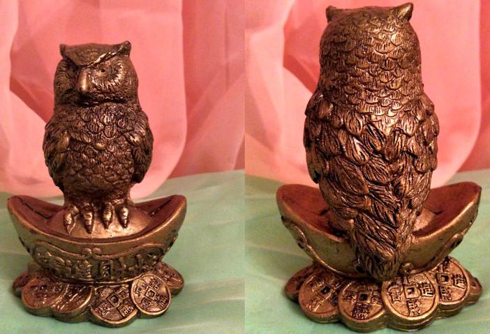 Денежная сова фэн - шуй на чаше, символ мудрости и благополучия, высота 9 см.