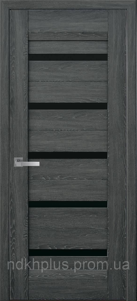 Двери межкомнатные Лира с черным стеклом