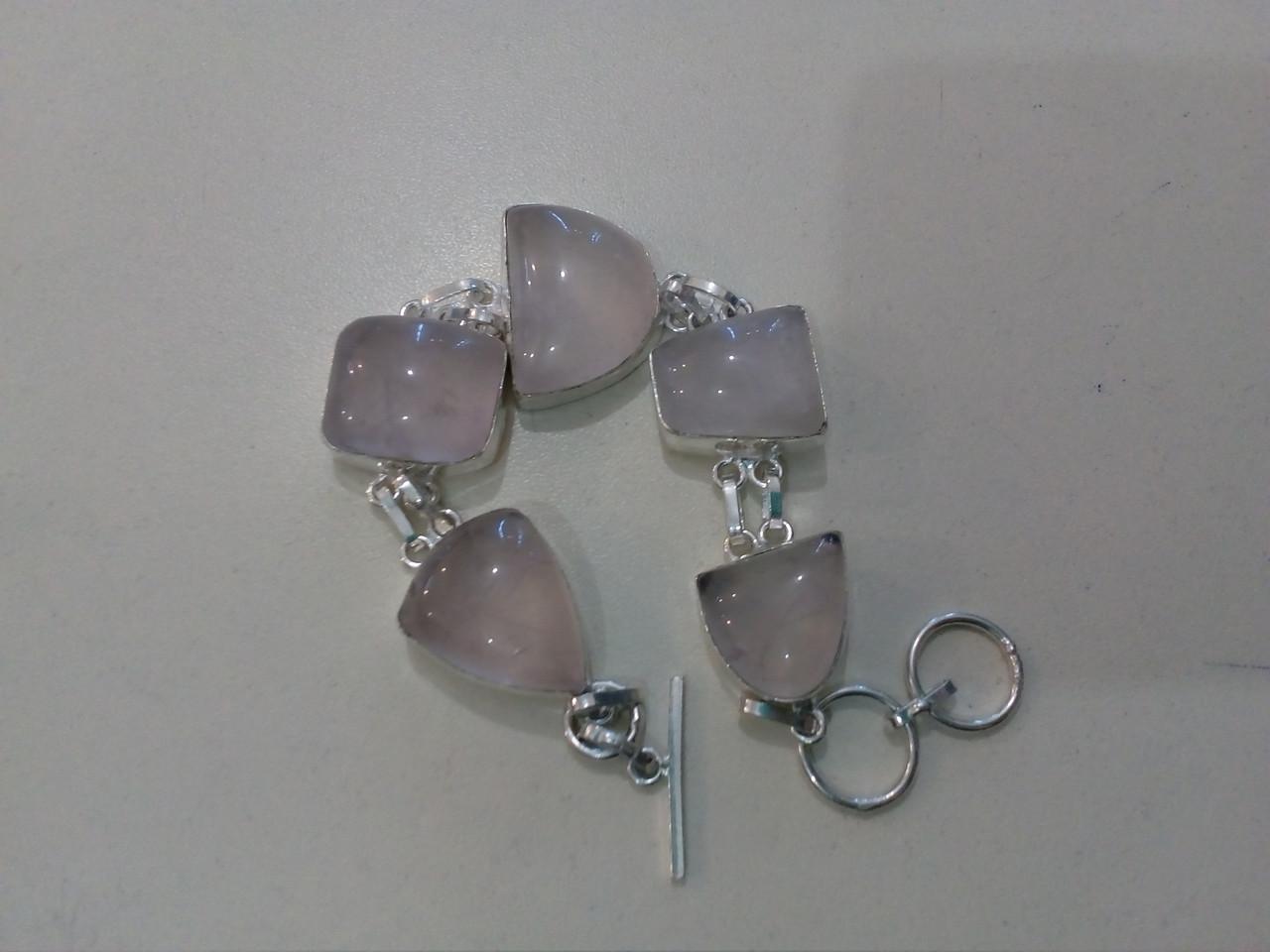 Красивый браслет - розовый кварц в серебре. Браслет с розовым кварцем.