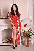 Штапельное женское платье - кимоно в пол