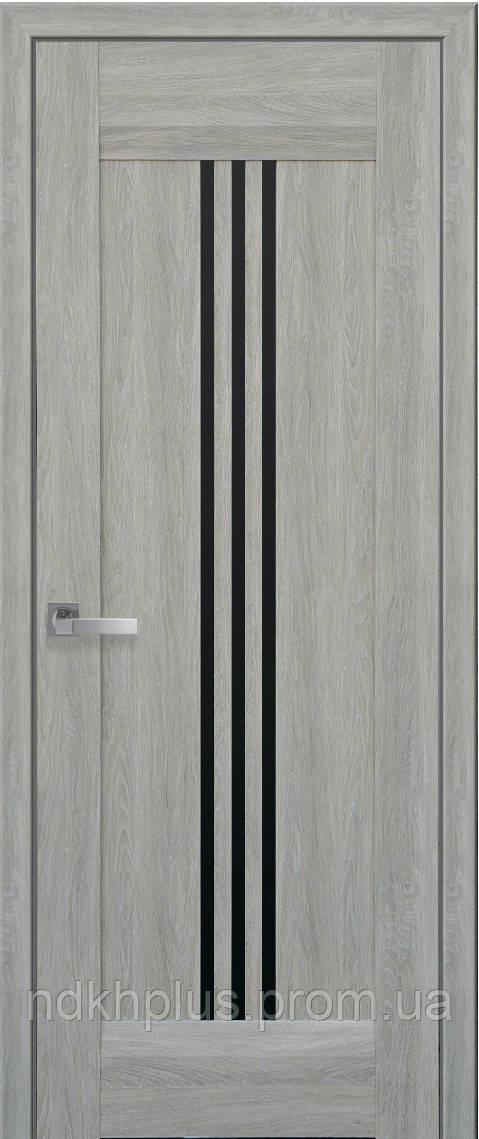 Двери межкомнатные Рейс с черным стеклом