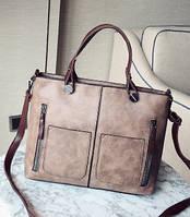 Женская сумка на молнии из экокожи с плечевым ремешком бежево фиолетовая опт, фото 1