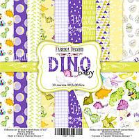 Набор бумаги для скрапбукинга Фабрика декора Dino baby, 30х30см, фото 1