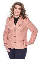 Стильный демисезонный пиджак-батализ ткани матовых оттенков, размеры 50,52,54,56,58,60, три цвета, Адель