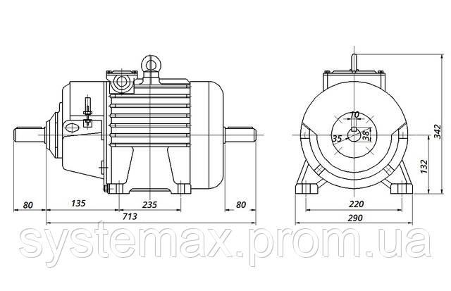 МТН 112-6 - IM1002 комбинированный (габаритные и установочные размеры)