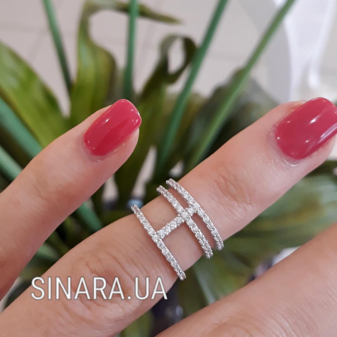 Стильное кольцо на фалангу с камнями