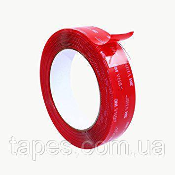 Двухсторонний скотч 3М VHB 4910 прозрачный, 6мм x 2м x 1мм, вспененная акриловая основа, 150/93 °С