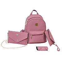 Женский рюкзак пурпурный набор 4в1 из экокожи, фото 1