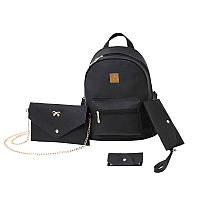 Женский рюкзак черный набор 4в1 из экокожи опт, фото 1