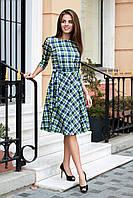 Платье женское в клетку по колено из французского трикотажа фисташка, 42