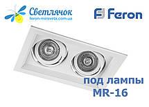 Cветильник карданный поворотный на 2 лампы Feron DLT202 белый под лампы MR16, фото 2