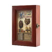 Ключница  настенная Медведь деревянная 58206 E