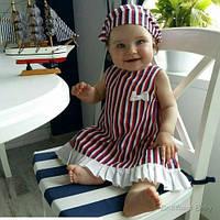 Нарядный летний комплект для девочки Пироженка (красно синий)