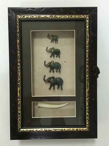 """Ключница настенная деревянная """"Слоны семейство"""", 60029 A, фото 2"""