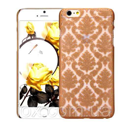 Золотой пластиковый ажурный чехол для Iphone 6/6S