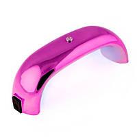 УФ-LED лампа Мини розовая зеркальная (таймер 30, 60сек) 9 Вт