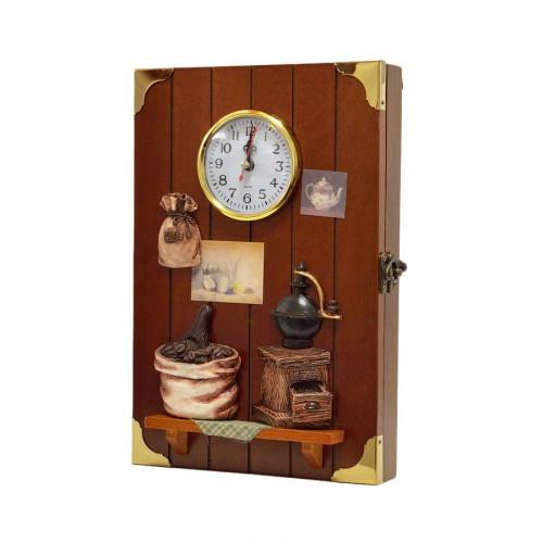 "Ключница  настенная, деревянная -""Кухня с часами"""