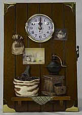"""Ключница  настенная, деревянная -""""Кухня с часами"""", фото 3"""