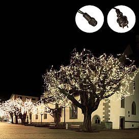 Гирлянда-нить 100 LED уличная белая, 10 м, черный провод