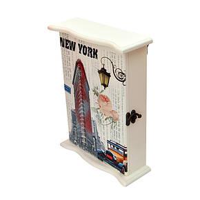 "Ключница  настенная, деревянная ""New York "", фото 2"