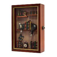 """Ключница  настенная деревянная -"""" Кот в библиотеке """", 60544"""