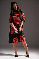 Красивое женское  платье-миди большого размера украшенное аппликацией +цвета