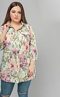 Блуза рубашка большого размера 2102, (2цв), рубашка женская, длинная блузка
