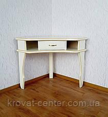 """Угловой белый столик """"Дарина"""". Массив - сосна, ольха, береза, дуб., фото 2"""