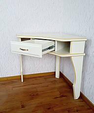 """Угловой белый столик """"Дарина"""". Массив - сосна, ольха, береза, дуб., фото 3"""