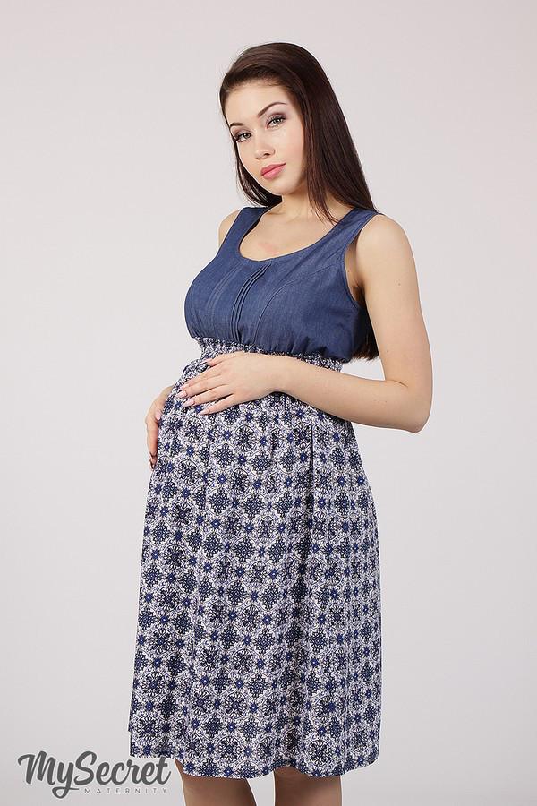7aaed6d8865054 Яркий сарафан для беременных и кормления LAYLA SF-28.011, синий джинс с  восточным рисунком