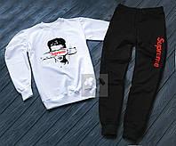 Спортивный костюм мужской Supreme белый с черным (РЕПЛИКА)