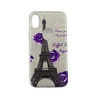 Чехол Rainbow Collection для iPhone X Фиолетовая роза в Париже