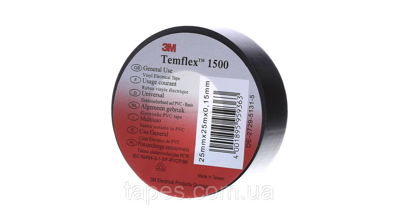 ПВХ изолента темфлекс 1500 (15мм x 10м х 0,15мм), черный цвет