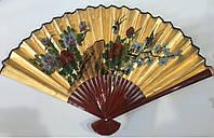 Веер настенный золотой, бамбук феншуй 50 см