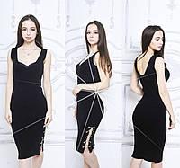 Платье женское без рукава с цепочкой в черном цвете ( АК-016 )