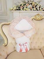 """Конверт на выписку  для новорожденного """" Мария"""" белый с персиковым кружевом"""