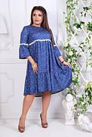 Платье джинсовое расклешенное, с 50-54 размер, фото 1