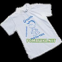 Футболка для новорожденного р.80 ткань КУЛИР 100% тонкий хлопок 4024 Голубой