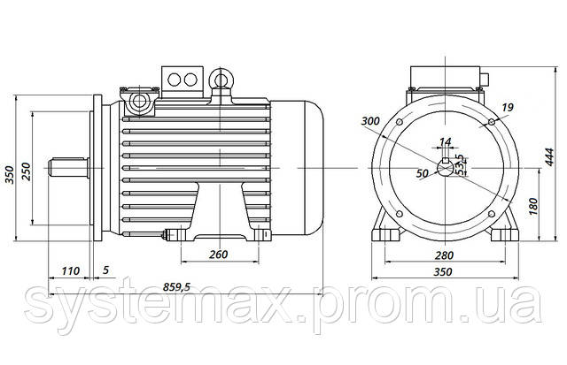 МТН 311-8 - IM2001 фланец на лапах (габаритные и установочные размеры)
