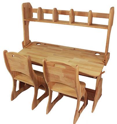 Комплект ученический парта+2 стульчика+надстройка (90 см) TM Mobler, фото 2