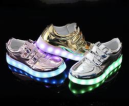 Детские светящиеся LED кроссовки с подсветкой мигающие USB зарядка 25-34 р3 разных цвета опт розница дроп, фото 3