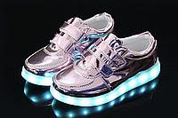 Детские светящиеся LED кроссовки с подсветкой мигающие USB зарядка 25-34 р3 разных цвета опт розница дроп