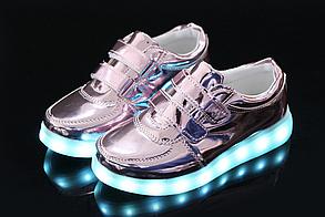 Детские светящиеся LED кроссовки с подсветкой мигающие USB зарядка 25-34 р3 разных цвета опт розница дроп, фото 2